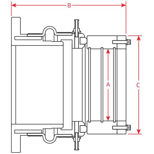 PSS Type C Seal Flange Mounted model dimensions