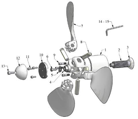 Pièces détachées pour hélice Flexofold 3 pales Saildrive