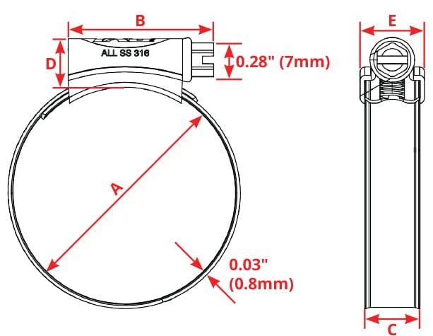 Hose Clamp Size Chart