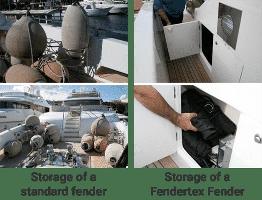Standard fender storage versus Fendertex Fenders